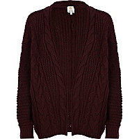Dark red aran knit cardigan