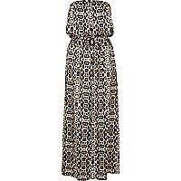 Brown animal print bandeau maxi dress