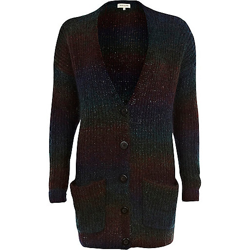 Purple brushed wool-blend ombre cardigan