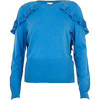 Blue frill shoulder jumper