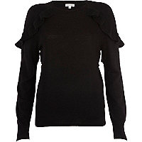 Black frill shoulder jumper