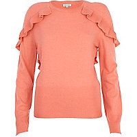 Pink frill shoulder jumper