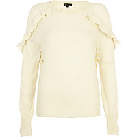 Cream frill shoulder jumper