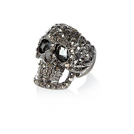Gunmetal tone encrusted skull ring