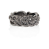 Gunmetal tone chunky chain ring