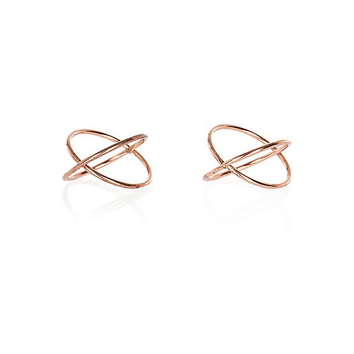 Rose gold tone crossover midi rings