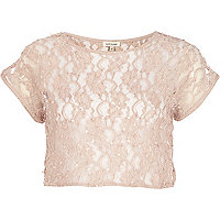 Beige lace sequin crop top