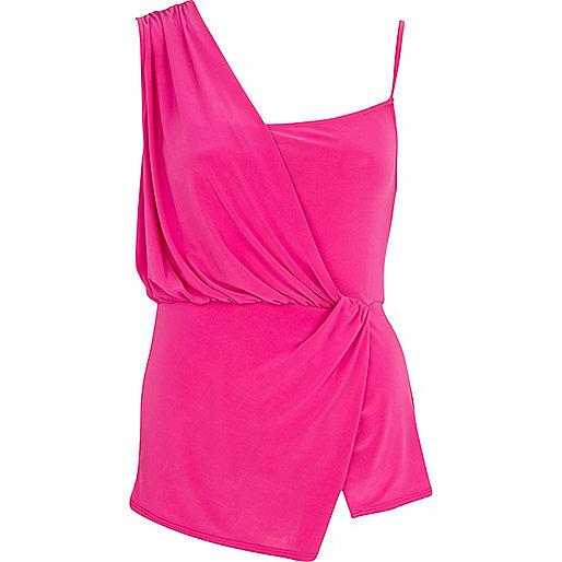 Bright pink asymmetric drape cami top