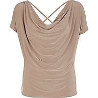 Beige cowl neck cross back top