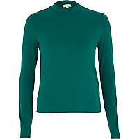 Green turtle neck long sleeve top