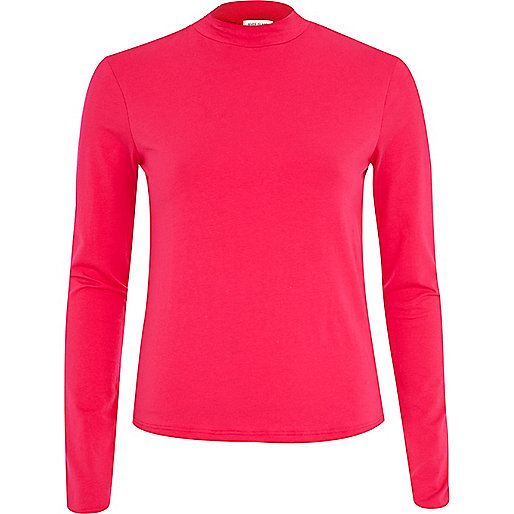 Pink turtle neck long sleeve top