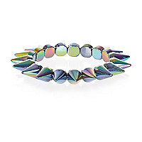 Blue iridescent spike bracelet