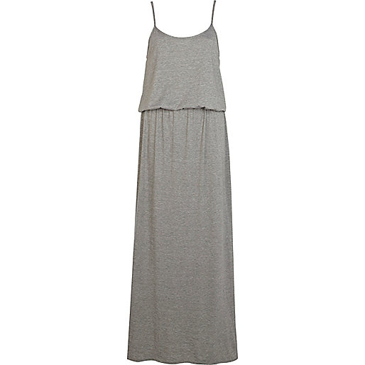 Light grey waisted cami maxi dress