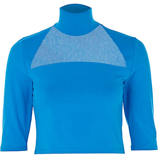 Blue mesh insert turtle neck crop top