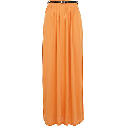 Light orange jersey belted maxi skirt