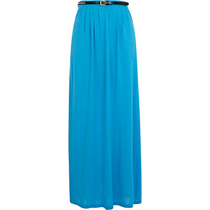 Bright blue jersey belted maxi skirt
