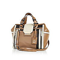 Beige premium colour block bowler bag