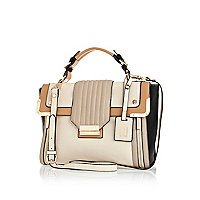 Cream premium colour block satchel
