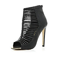 Black strappy shoe boots