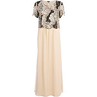 Light pink embellished 2 in 1 maxi dress