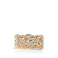 Pink gem stone embellished box clutch bag