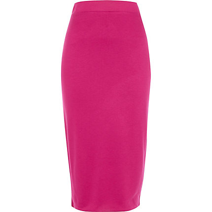 Bright pink double layered pencil skirt