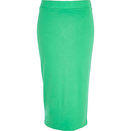 Green double layered pencil skirt