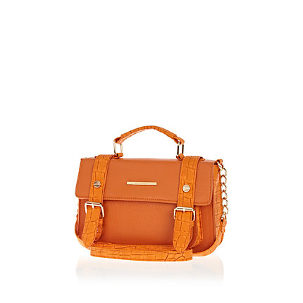 Orange mock croc panel mini satchel