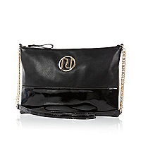 Black patent two-tone RI cross body bag