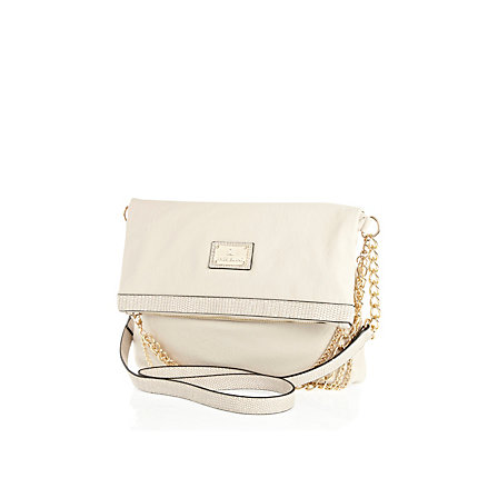 Cream fold over cross body bag