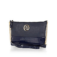 Blue patent two-tone RI cross body bag
