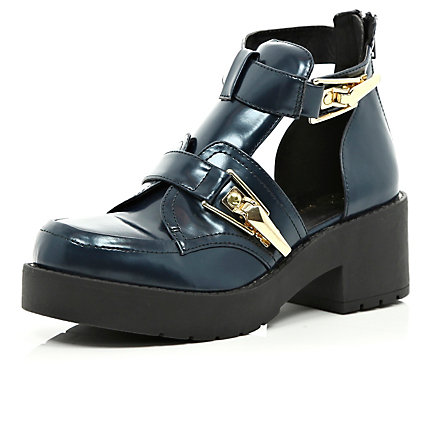 Navy patent cut out block heel ankle boots