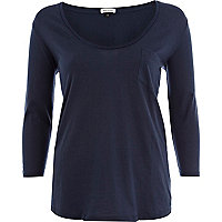 Navy low scoop long sleeve t-shirt
