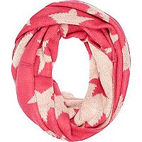 Pink and cream star knit snood