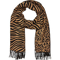Black leopard and zebra print blanket scarf