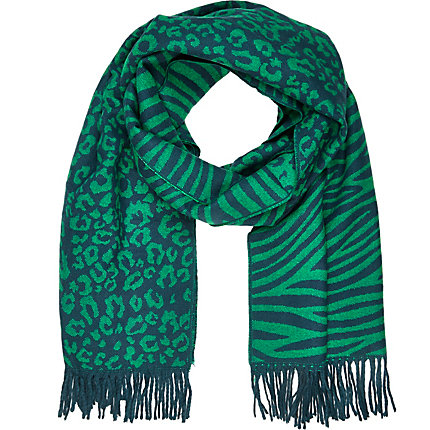 Green leopard and zebra print blanket scarf