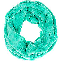 Bright aqua faux fur snood