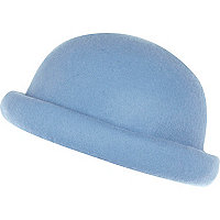 Light blue rolled brim bowler hat