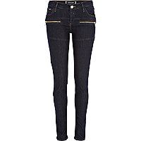Dark wash seamed superskinny jeans