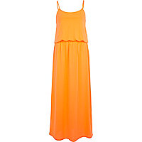 Bright coral waisted cami maxi dress