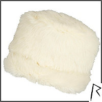 Cream Rihanna faux fur cossack hat