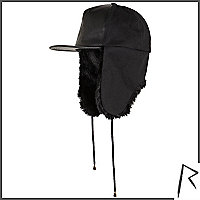 Black Rihanna faux fur trapper cap