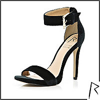 Black Rihanna velvet barely there sandals