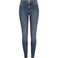 Mid wash quilted Molly jeggings