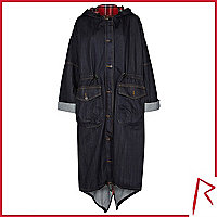 Dark wash Rihanna denim trench coat