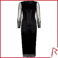 Black Rihanna bugle beaded midi dress