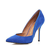 Blue contrast panel pointed court shoes