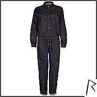 Dark wash Rihanna denim jumpsuit