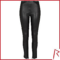 Black Rihanna stretch leather trousers