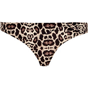 Brown leopard print bikini brief
